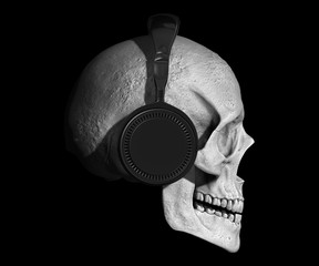 skull with headphones isolated in background 3d illustration