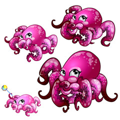 Set of pink octopus isolated on white background. Vector cartoon close-up illustration.