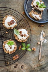 Oatmeal granola cups with yogurt and nuts