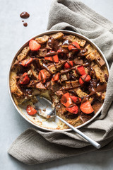 Bread pudding with strawberries
