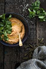 Pumpkin hummus with fresh coriander