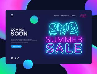 Summer Sale banner design template vector. Summer Discount web banner interface, Neon sign, modern trend design, neon style web banner, bright neon advertising. Vector illustration