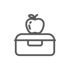 Plastic lunch box with apple for school or work healthy break pixel perfect line icon with editable stroke.