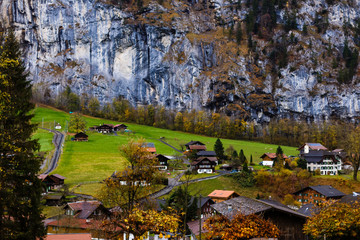 Wall Mural - Scenic view of Lauterbrunnen village in winter time, Switzerland