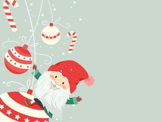 Man Jul Tomte Xmas Balls Background Illustration