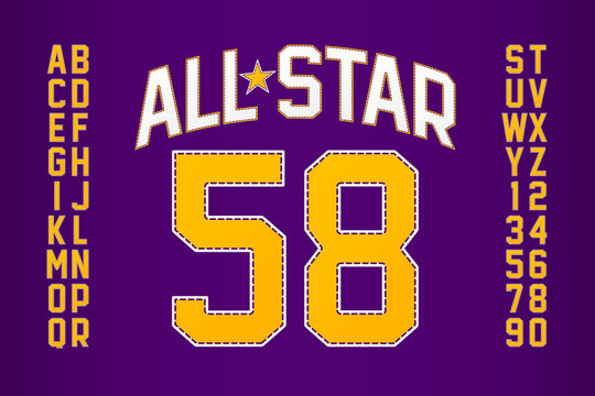 Sports uniform style font, alphabet and numbers