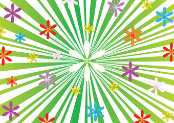Floral background. Green striped background with flowers, vector, jpg format.