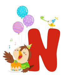 Nightingale Birthday Alphabet Illustration
