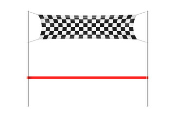 Checkered finish line banner with red ribbon