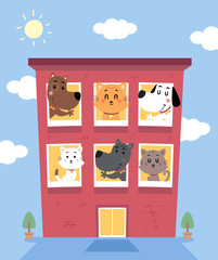 Cat Dogs Boarding Hotel Illustration