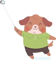 Dog Selfie Stick Illustration