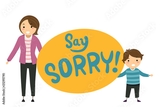 Stickman Kid Boy Mother Say Sorry Illustration Stock Image And