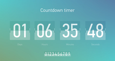 Flip countdown clock counter timer, coming soon or under construction web site page time remaining count down