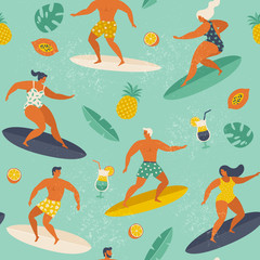 Summer beach seamless pattern in vector. Surf illustration in retro style.