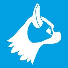 Pug dog icon white isolated on blue background vector illustration