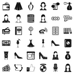Businesswoman icons set. Simple style of 36 businesswoman vector icons for web isolated on white background