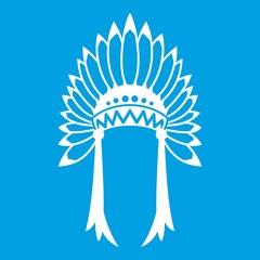 Indian headdress icon white isolated on blue background vector illustration