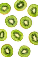 Kiwi fruit Slices macro.  Ripe Kiwi fruit isolated on white background. Fresh tropical abstract background