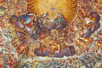 Fototapete - PARMA, ITALY - APRIL 16, 2018: Fresco of Holy Trinity and saints in the glory in cupola of Chiesa di Santa Maria del Quartiere by P. A. Bernabei, his brother Alessandro and G. M. Conti dela Camera.