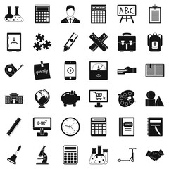 School calculator icons set. Simple style of 36 school calculator vector icons for web isolated on white background