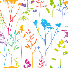 Seamless pattern with herbal silhouettes
