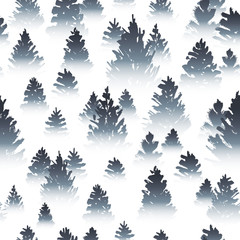 Seamless pattern with misty coniferous forest sketches on white background