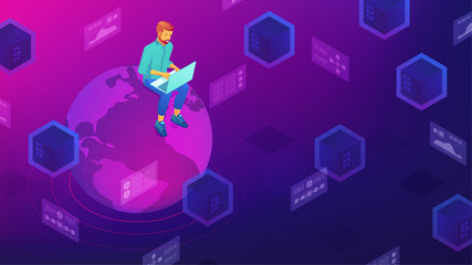 Isometric big data architect designer working on laptop sitting on the globe. Big data architecture, storage, service and analysis vector 3D isometric illustration on ultraviolet background.