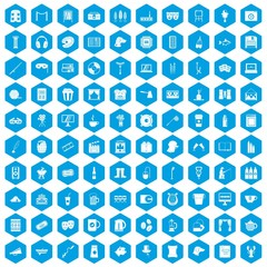 100 leisure icons set in blue hexagon isolated vector illustration
