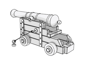 sketch of an old cannon vector