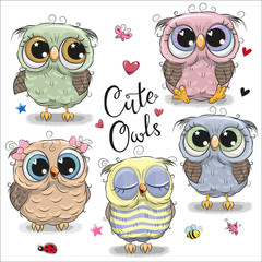 Tuinposter Uilen cartoon Set of cartoon owls on a white background