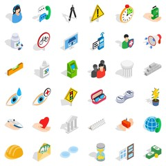 Care icons set. Isometric style of 36 care vector icons for web isolated on white background
