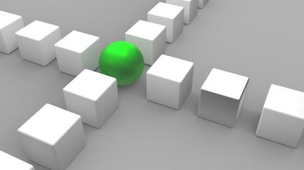 2 Reihen Würfel treffen sich. Eine grüne Kugel bildet die Schnittmenge. Symbol für Anführer und Vermittler Wall mural