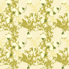 Military camouflage seamless pattern in different shades of green and beige colors