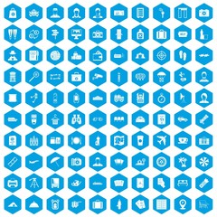 100 passport icons set in blue hexagon isolated vector illustration