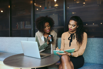 Young businesswomen working together in office