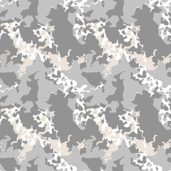 Military camouflage seamless pattern in different shades of grey and beige colors