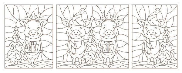 Set of contour illustrations for the new year, funny pigs, dark contours on a white background