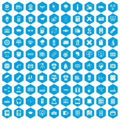 100 printer icons set in blue hexagon isolated vector illustration