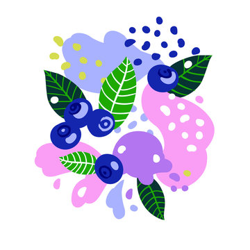 Blueberries on abstract background. Vector illustration.