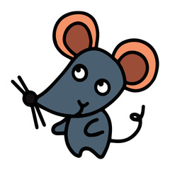 Cute mouse cartoon illustration isolated on white background for children color book