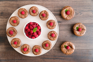 Delicious chocolate lava cakes with fresh raspberries and mint