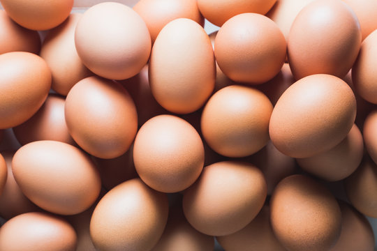 fresh chicken eggs, top view.
