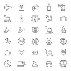 travel airport flight line black icons set on white background