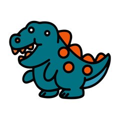 Dinosaur cartoon illustration isolated on white background for children color book
