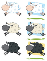Sheep Cartoon Mascot Character Set 4. Vector Collection Isolated On White Background