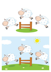 Sheep Cartoon Mascot Character Set 8. Vector Collection Isolated On White Background