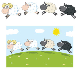 Sheep Cartoon Mascot Character Set 10. Vector Collection Isolated On White Background