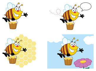 Bee Cartoon Mascot Character Set 7. Vector Collection Isolated On White Background