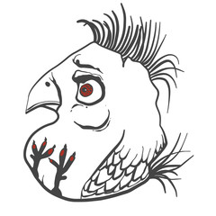 angry simple bird gray and white line drawing modern illustration