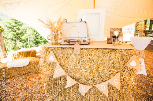 Shabby Chic Rustic Wedding Decoration And Cards Booth On Straw Bale